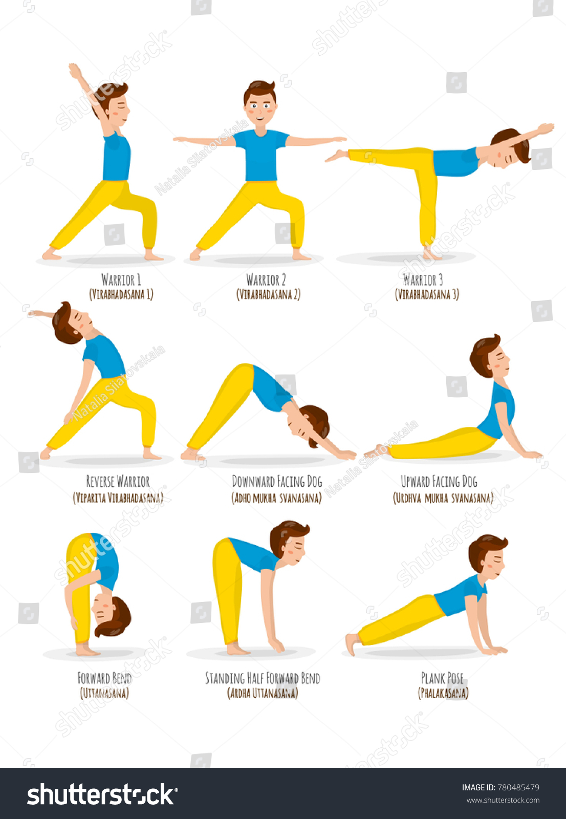 Yoga Basic Poses For Men Cartoon Character Healthy Lifestile Illustration Isolated On White