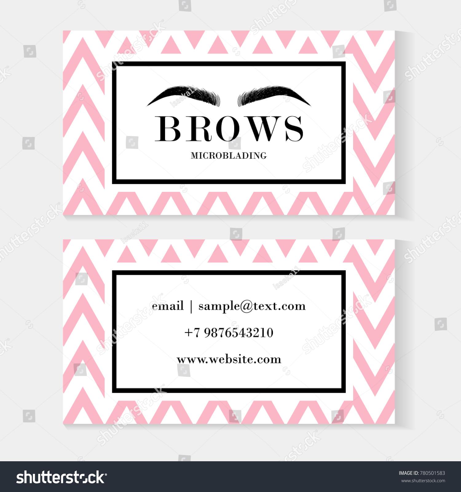 Set Brow Artist Business Cards Template Stock Vector 780501583 ...