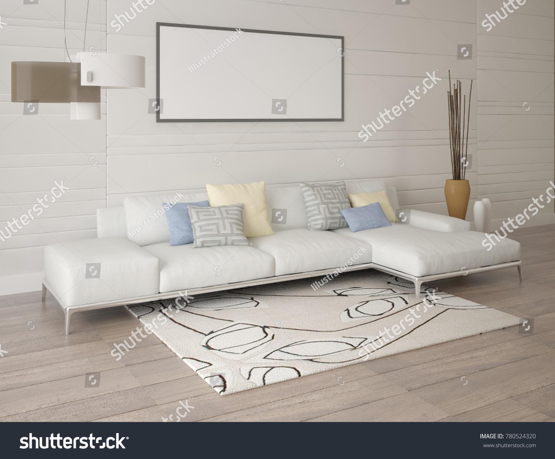 Mock Poster Living Room Light Corner Stock Illustration 780524320 ...
