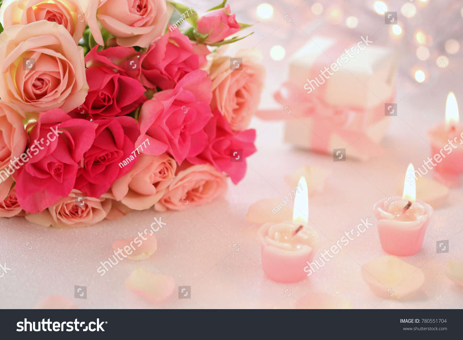 Valentines Roseshaped Candles With Bouquet Of Beautiful Pink Rose