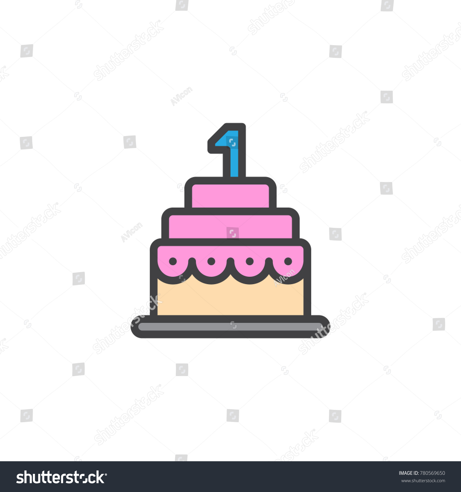 Birthday cake filled outline icon line stock vector 780569650 birthday cake filled outline icon line vector sign linear colorful pictogram isolated on white buycottarizona