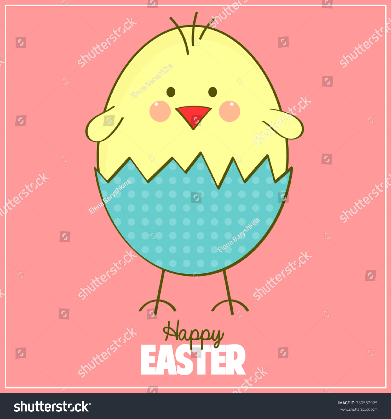 Royalty Free Stock Illustration of Happy Easter Card Cute Chick ...