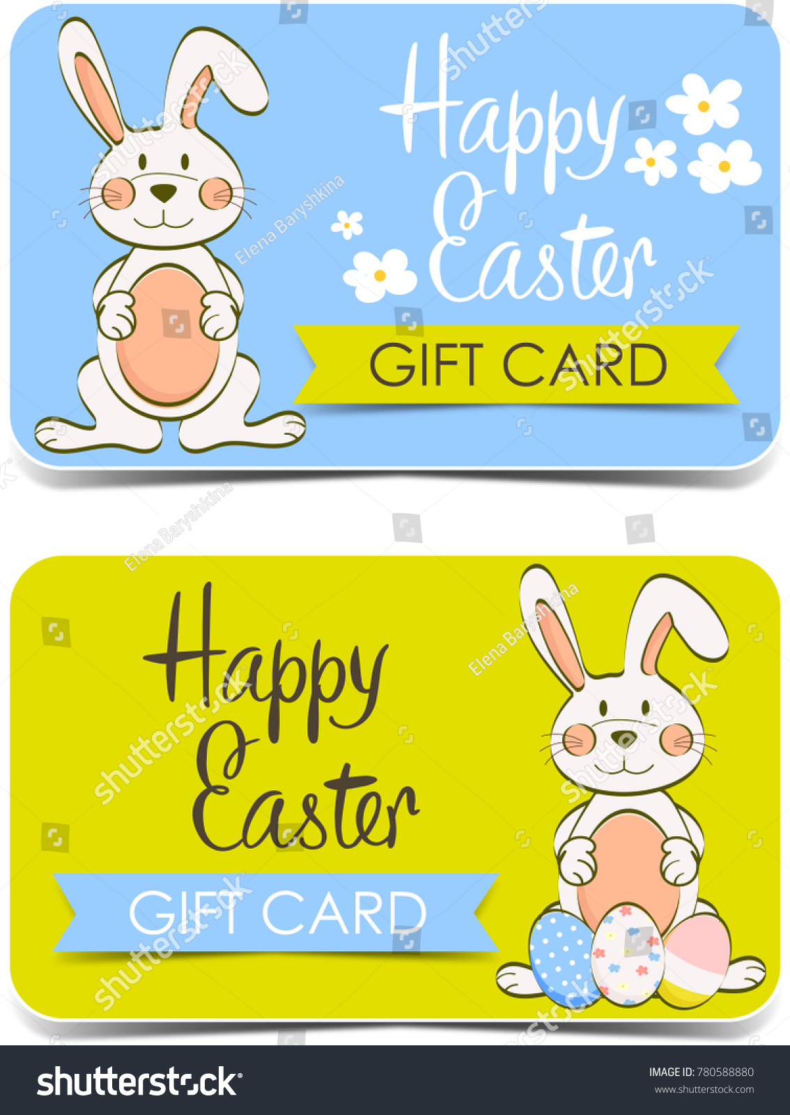 Happy easter gift card cute bunny stock illustration 780588880 happy easter gift card cute bunny negle Image collections