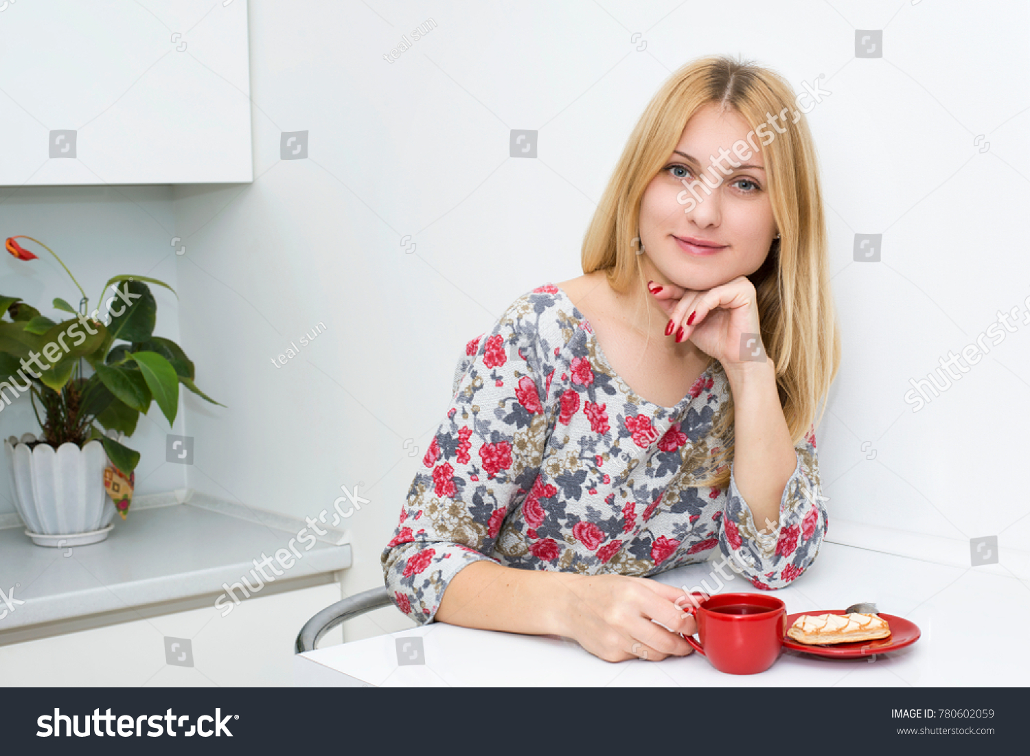 Woman Kitchen Drink Morning Tea Stock Photo (Edit Now)- Shutterstock