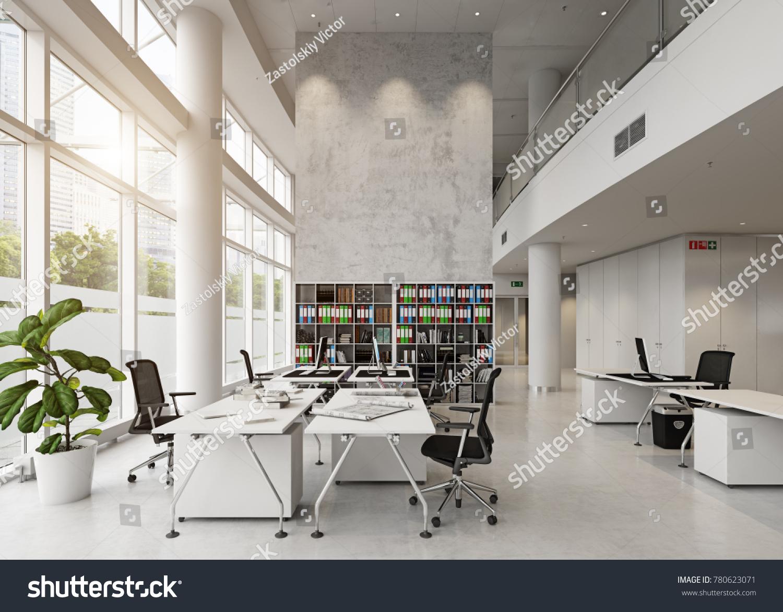 modern office building interior 3 d rendering stockillustration