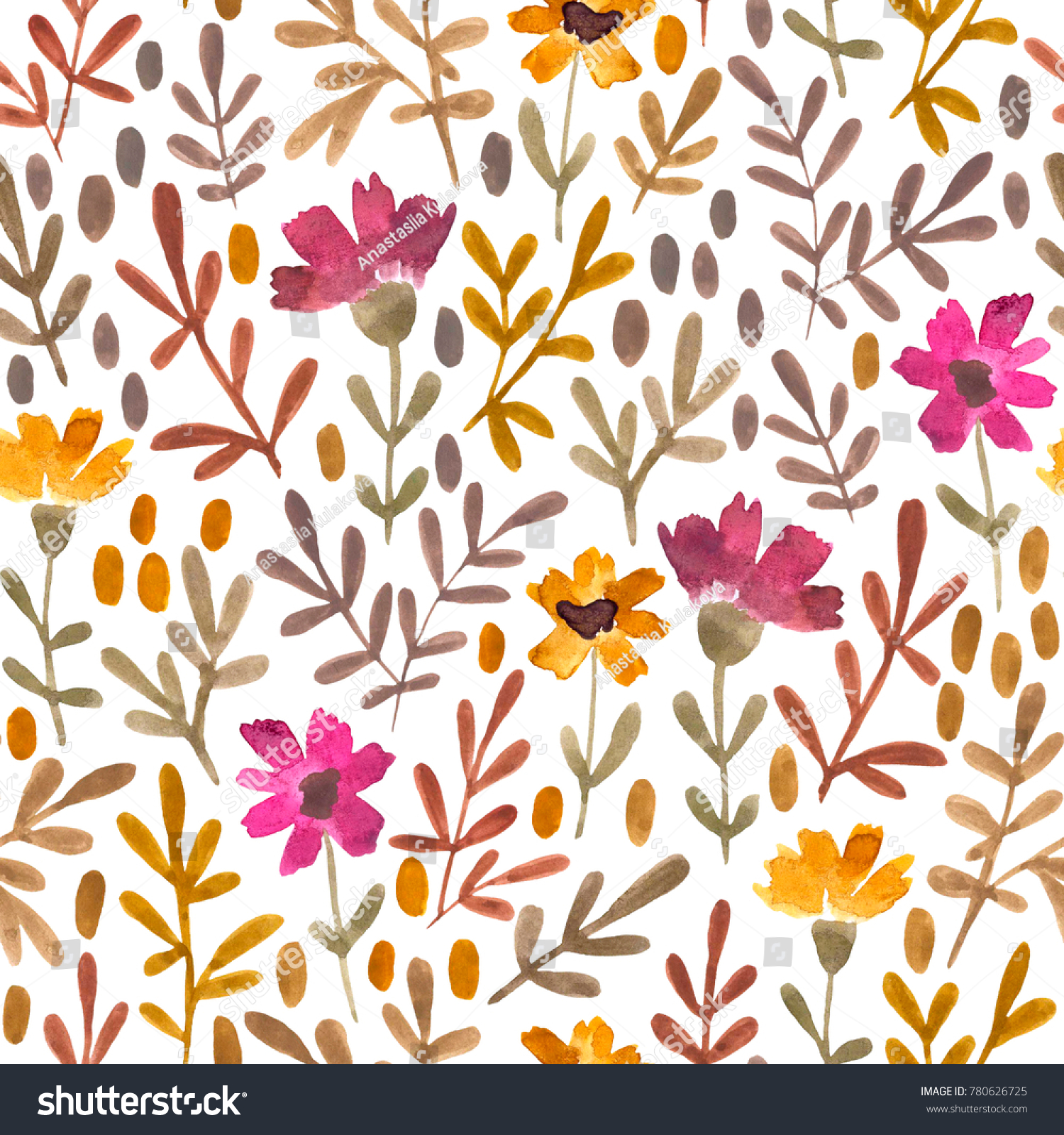 Watercolor Flowers And Leaves Hand Painted Seamless Floral Pattern