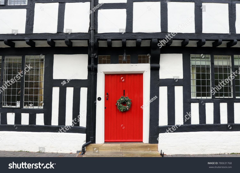 Closeup Red Door Christmas Wreath On Stock Photo Edit Now