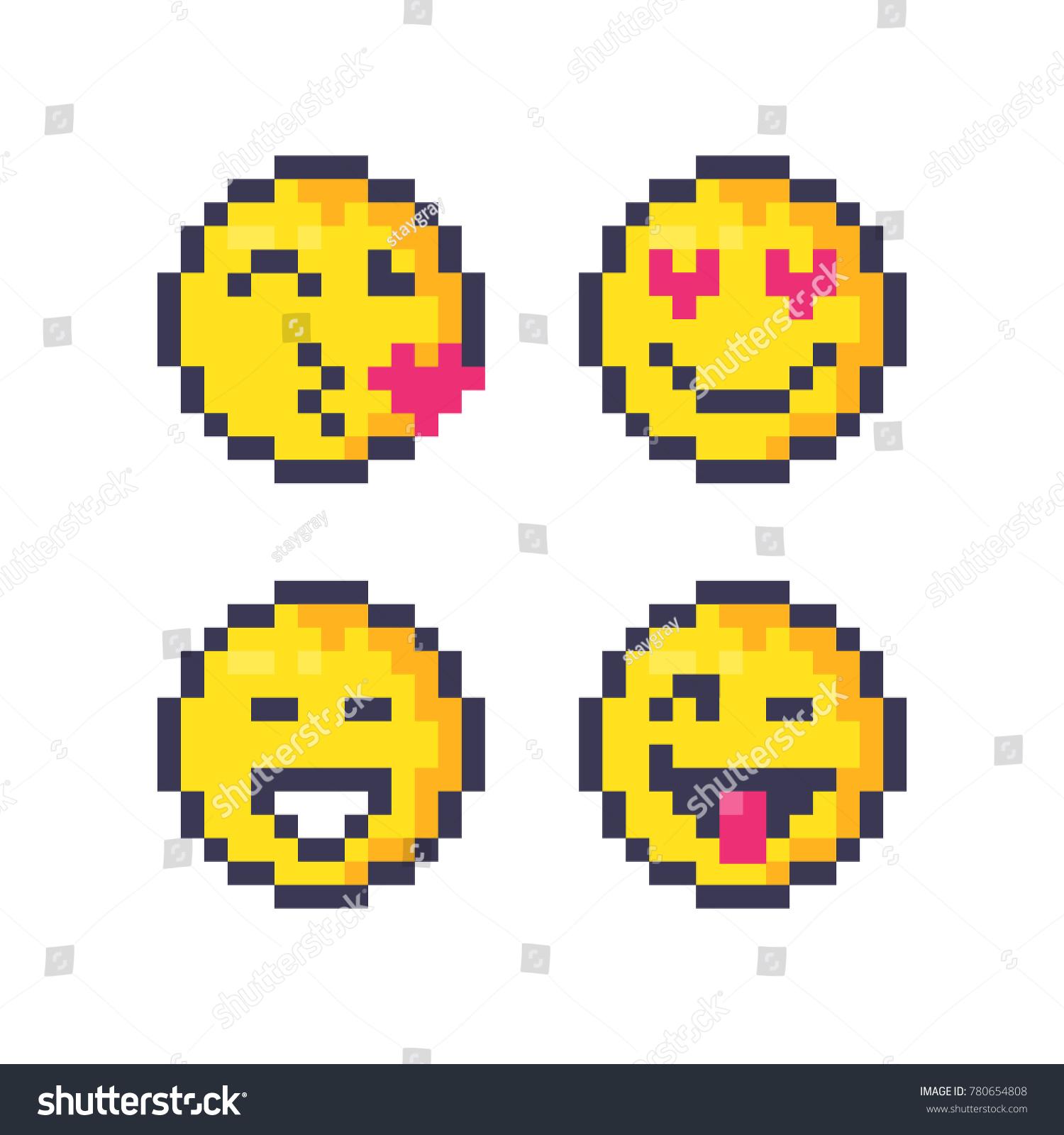 Set Cute Pixel Smiley Emoticons Set Stock Vector Hd Royalty Free