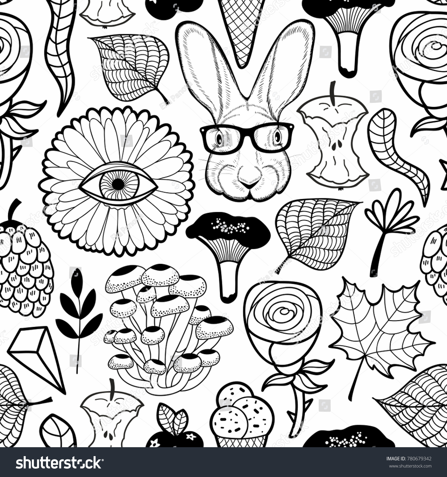 Black White Seamless Pattern Cool Hare Stock Vector 780679342 ...