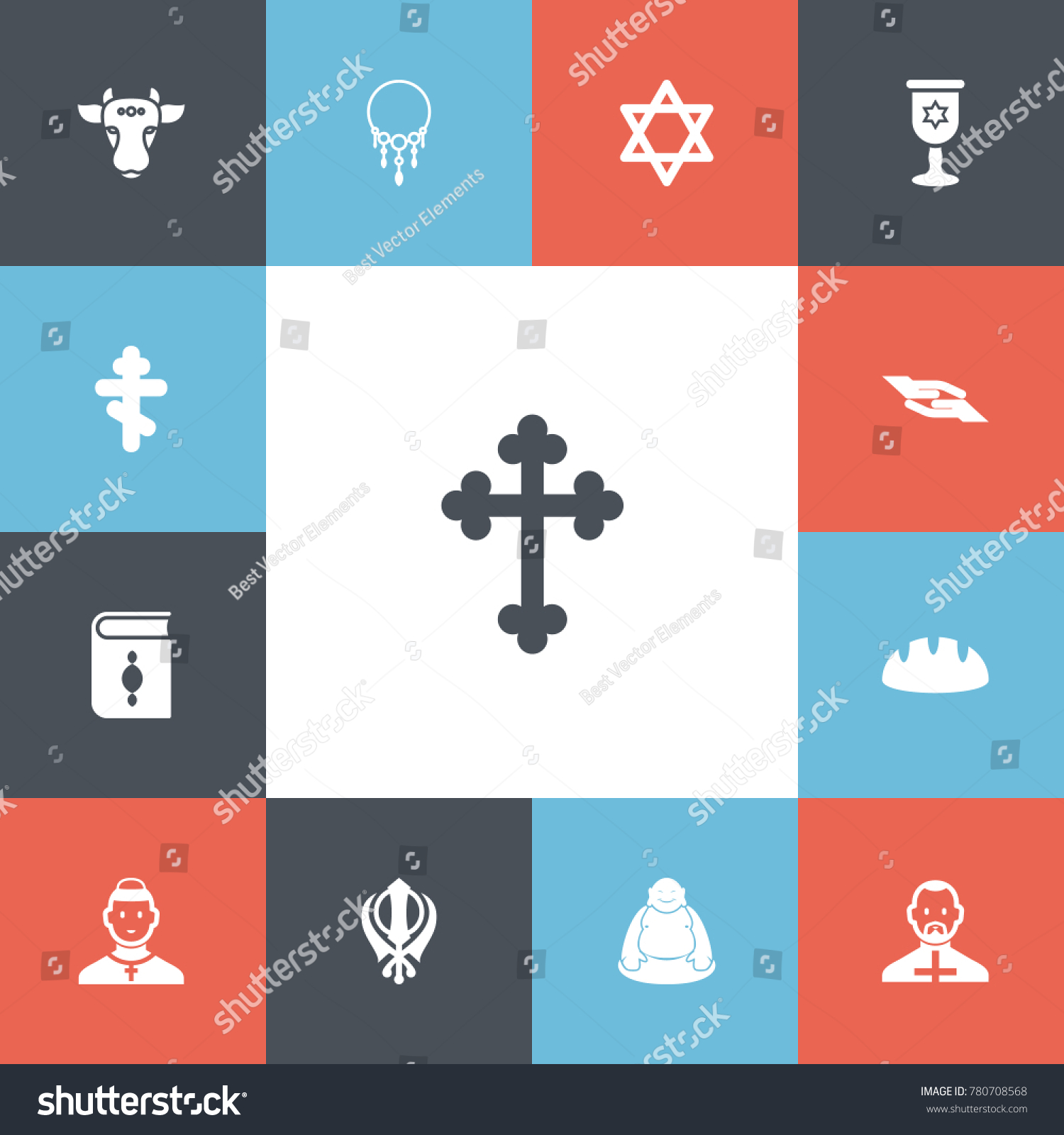 Set 13 editable religion icons includes stock vector 780708568 set of 13 editable religion icons includes symbols such as christian cross cleric buycottarizona Images