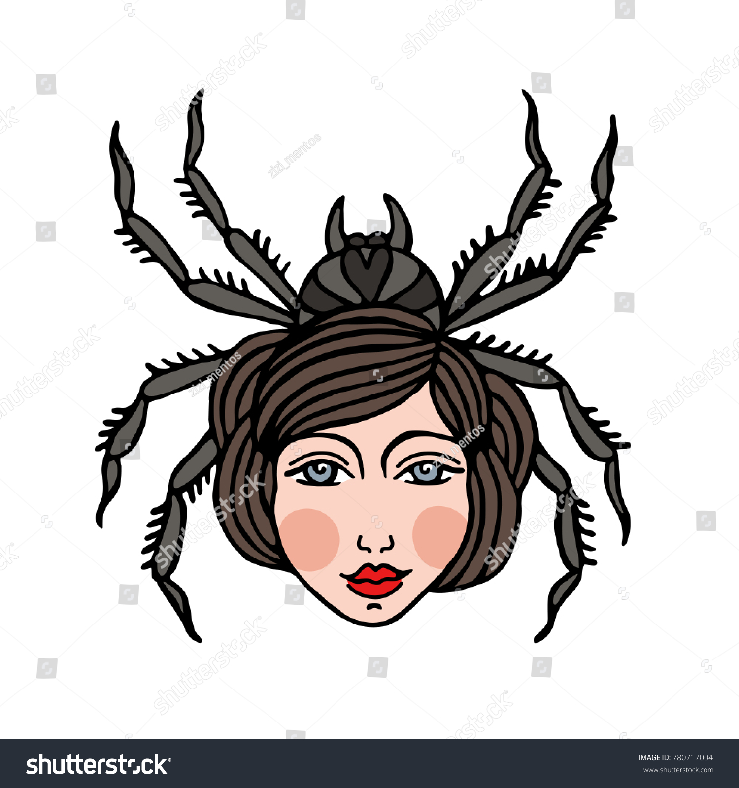 girl spider illustration traditional tattoo flash stock vector