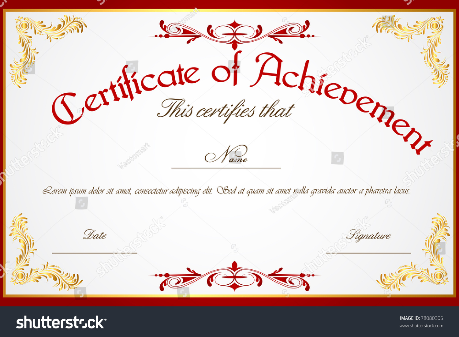 Illustration Template Certificate Achievement Vector – Template Certificate of Achievement