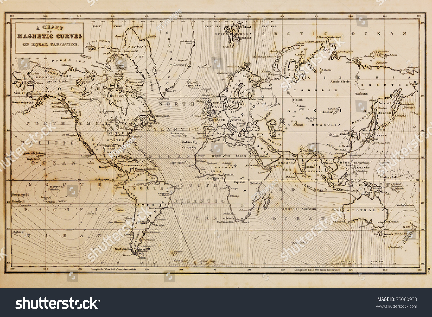 Photo Of A Genuine Hand Drawn World Map, It Was Drawn In 1844 And Therefore