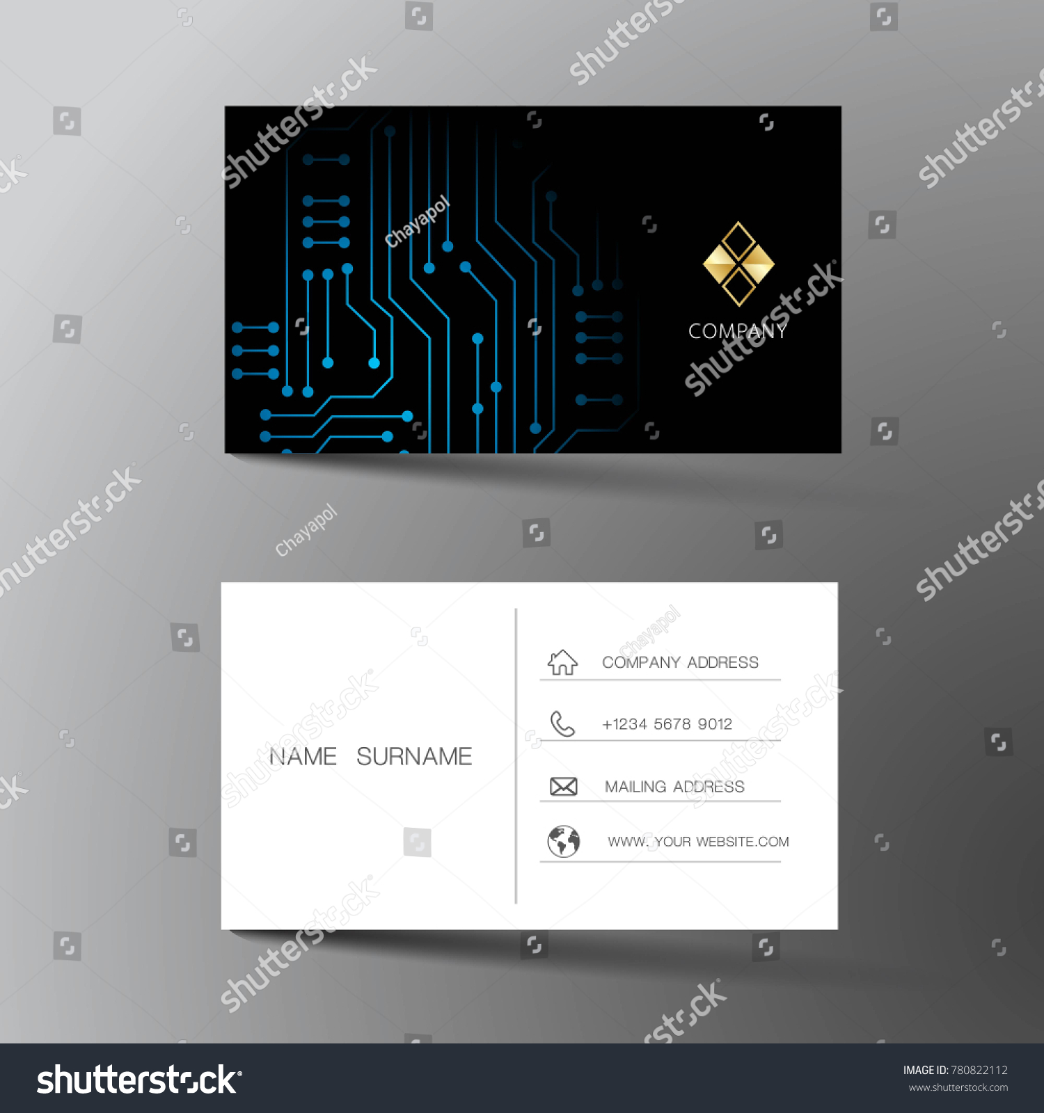 Modern Business Card Template Design With Inspiration From Abstract Digital Circuit Contact For