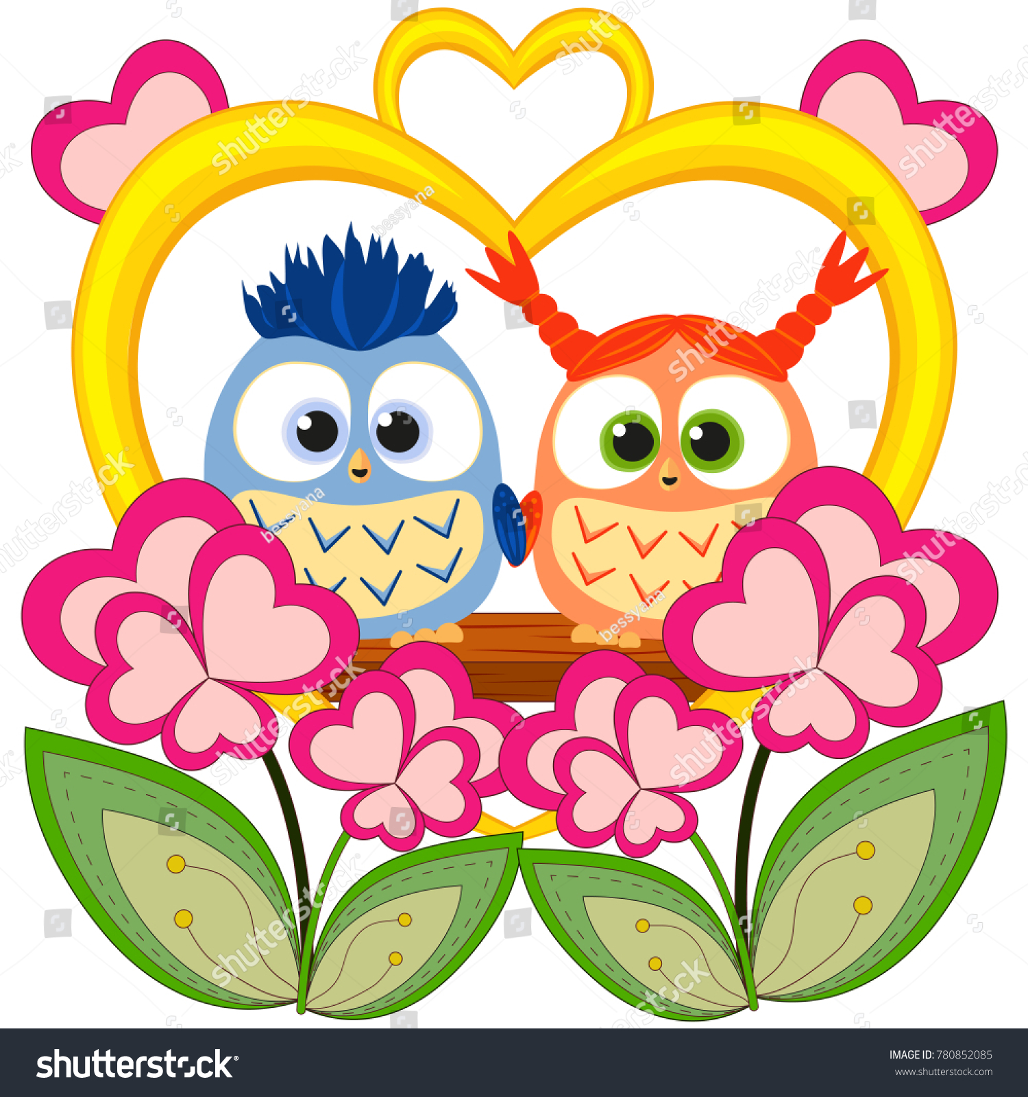 Valentine Day Colorful Poster Owl Couple Stock Vector 780852085 ... for Couple Sticker Line  150ifm