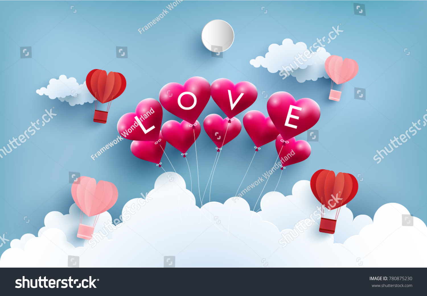 Illustration love symbol art design paper stock vector 780875230 illustration of love symbol with art design and paper craft there are balloons and hot jeuxipadfo Images