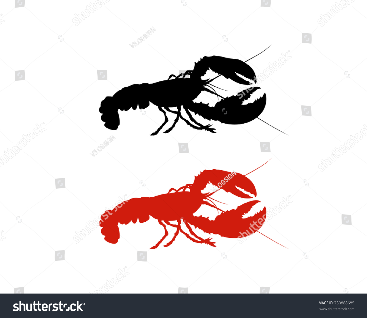 Black Red Lobster Food Vector Animal Stock Photo Photo Vector