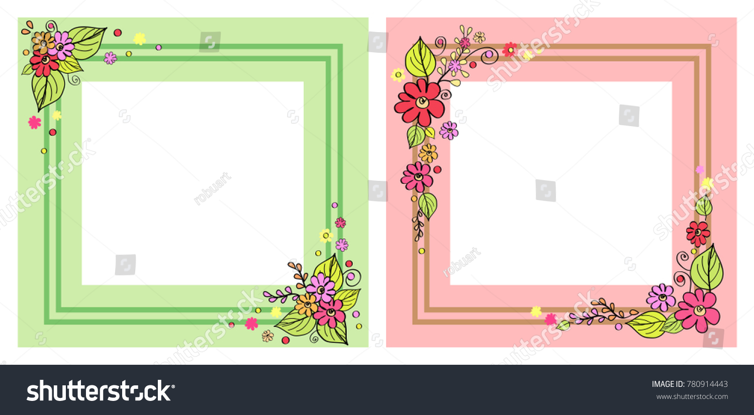 Set photo frames pink green colors stock vector 780914443 set of photo frames in pink and green colors with decorative floral elements in corners jeuxipadfo Images