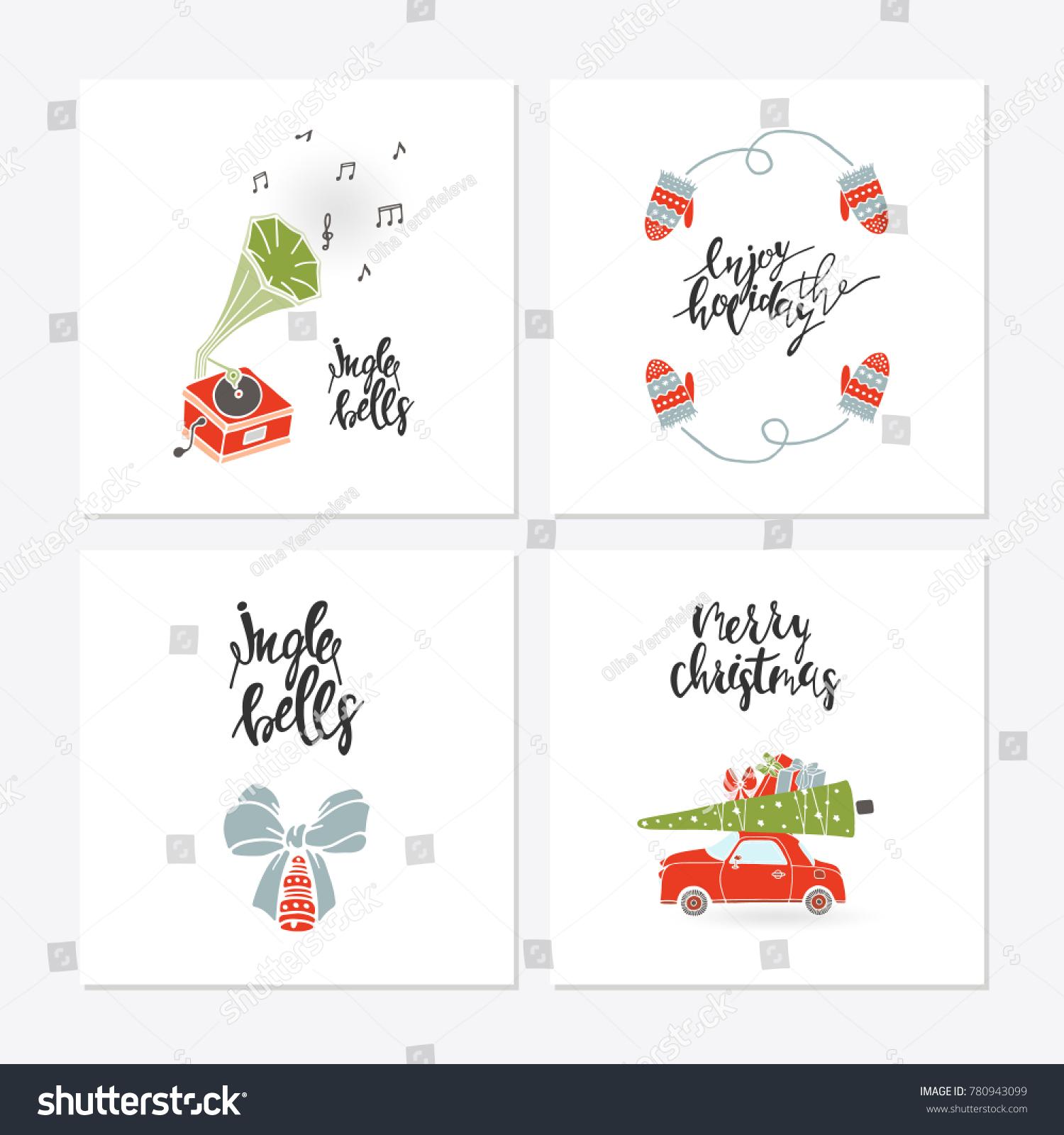 Greeting Card Christmas Toys Christmas Phrases Stock Vector Hd