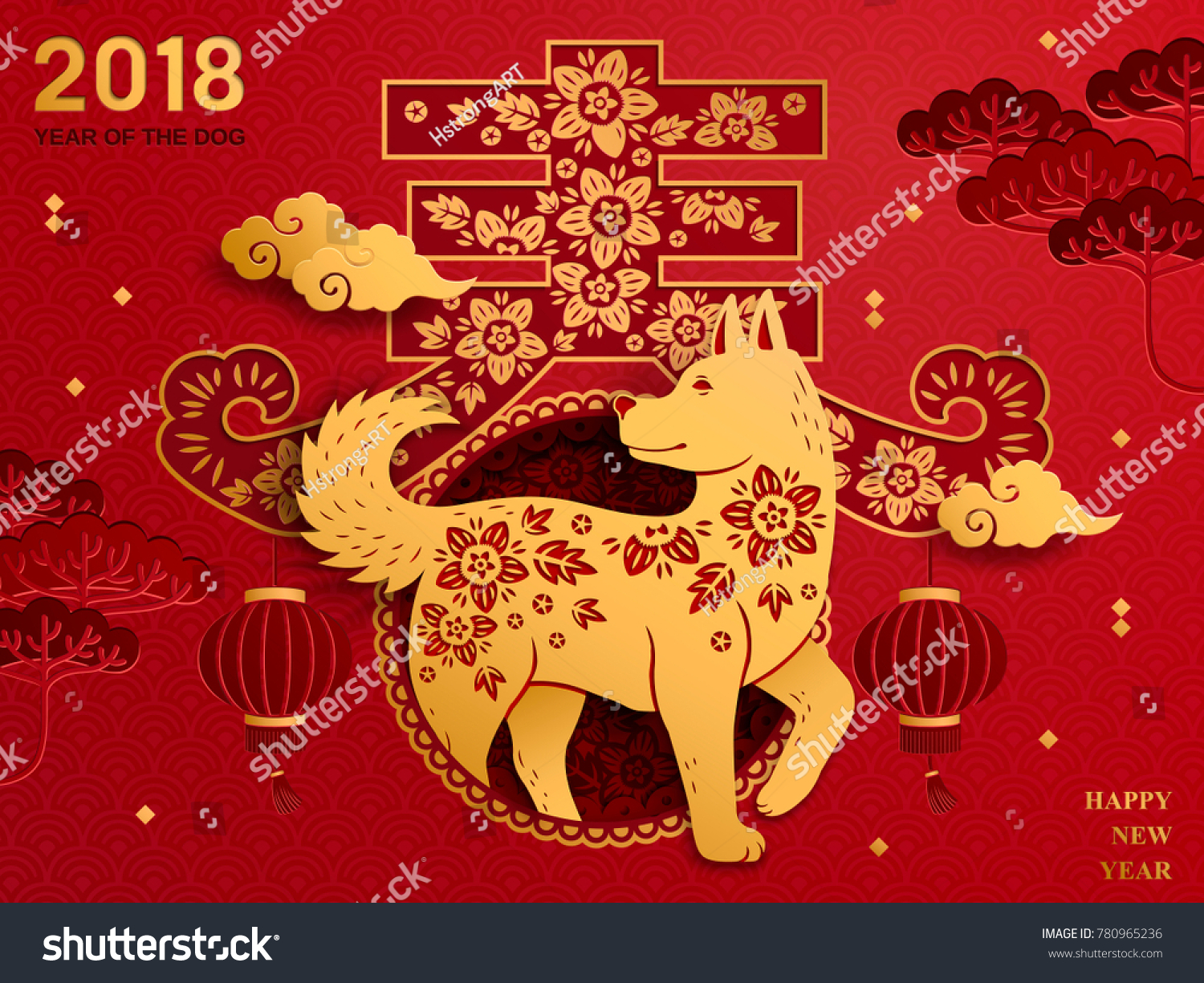Chinese New Year Art Traditional Chinese Stock-Vektorgrafik ...