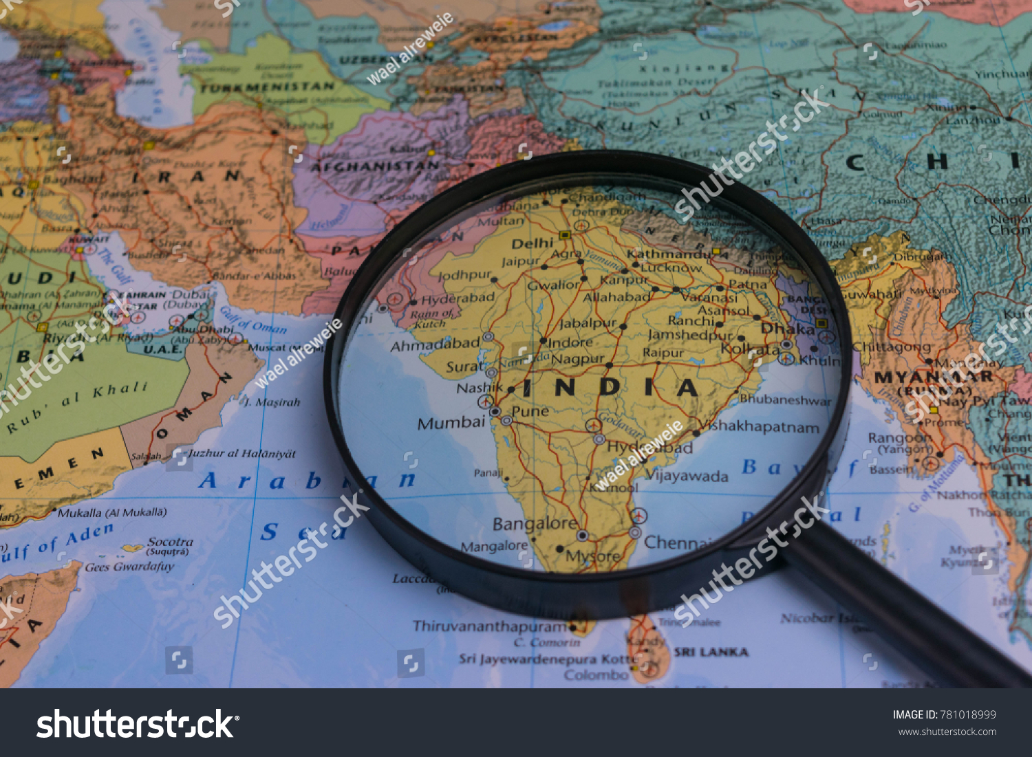 Map india through magnifying glass on stock photo edit now map of india through magnifying glass on a world map publicscrutiny