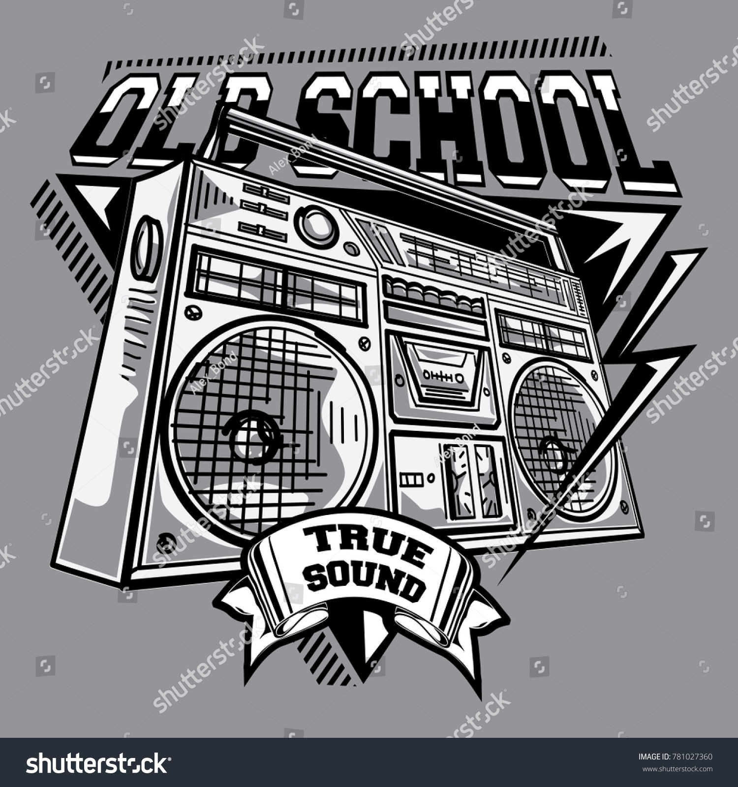 Old school black and white music emblem with boom box
