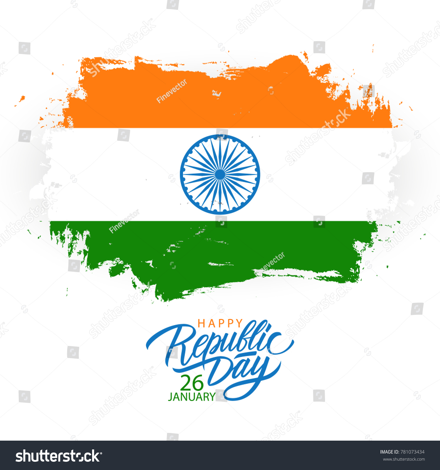 India Happy Republic Day Greeting Card Stock Vector Royalty Free