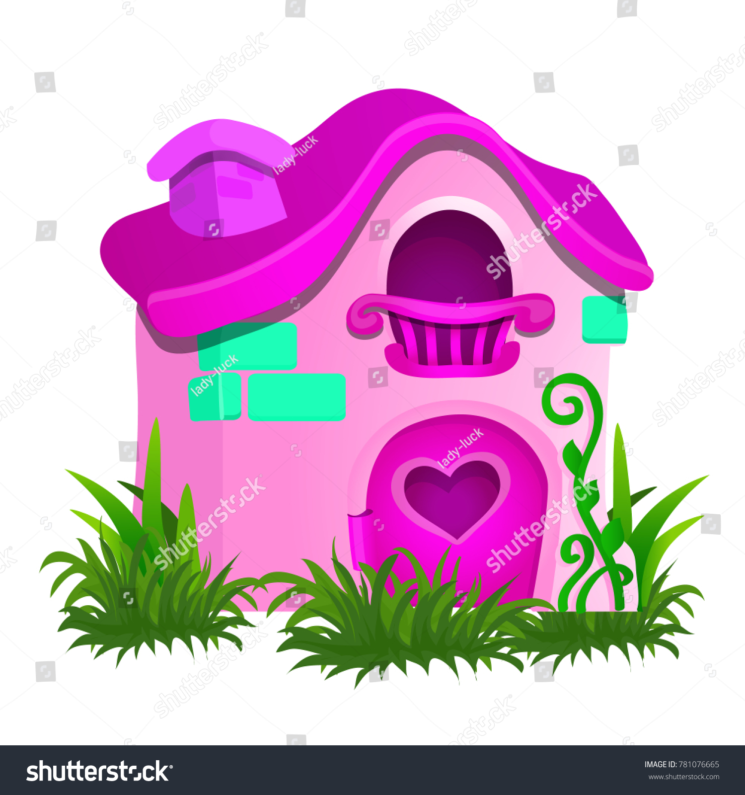 Fairy House Pink Color Isolated On Stock Vector (Royalty Free ...
