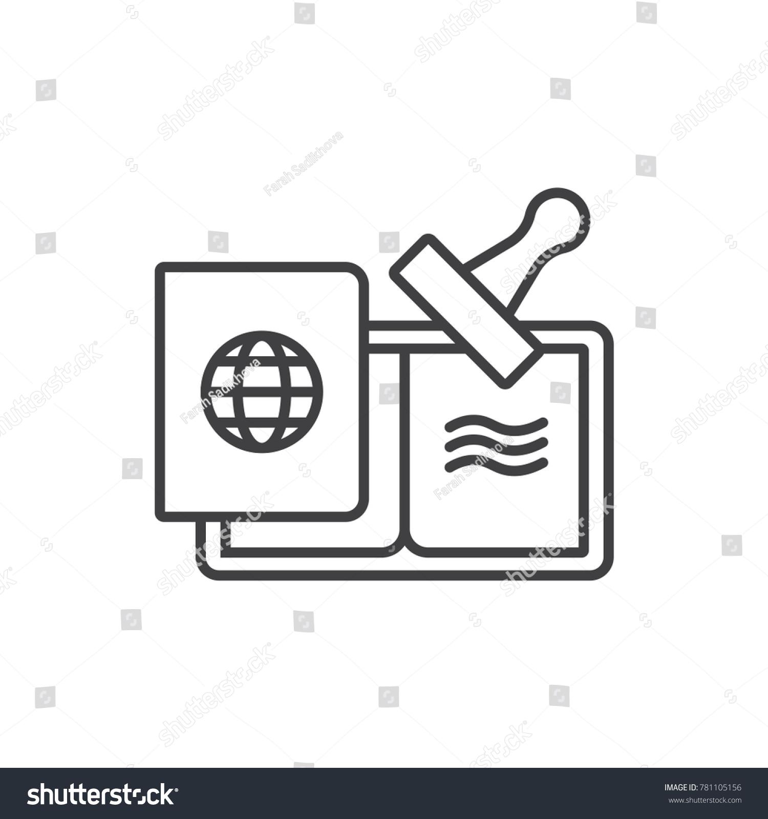 Passport visa stamp line icon stock vector 781105156 shutterstock passport with visa stamp line icon biocorpaavc Choice Image