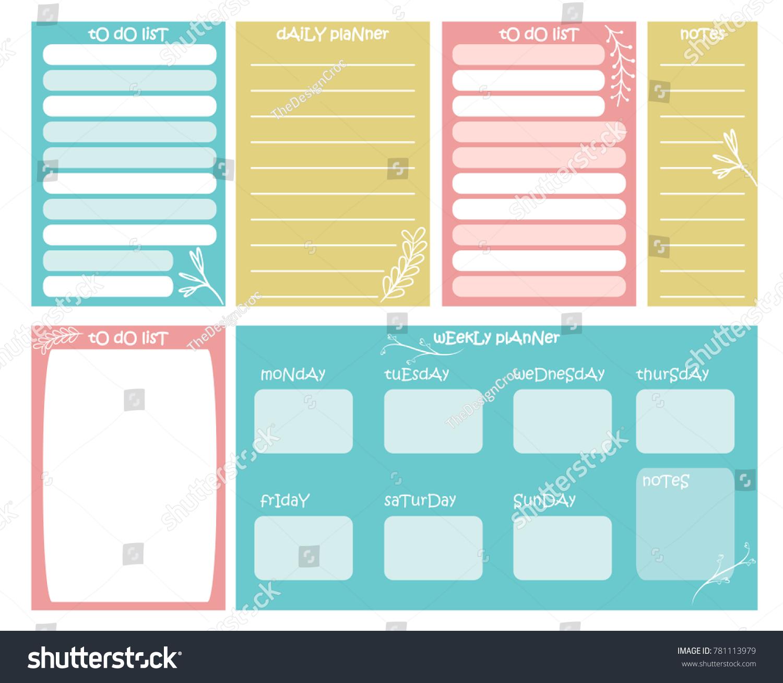 weekly planner vector illustration organizer todo stock vector