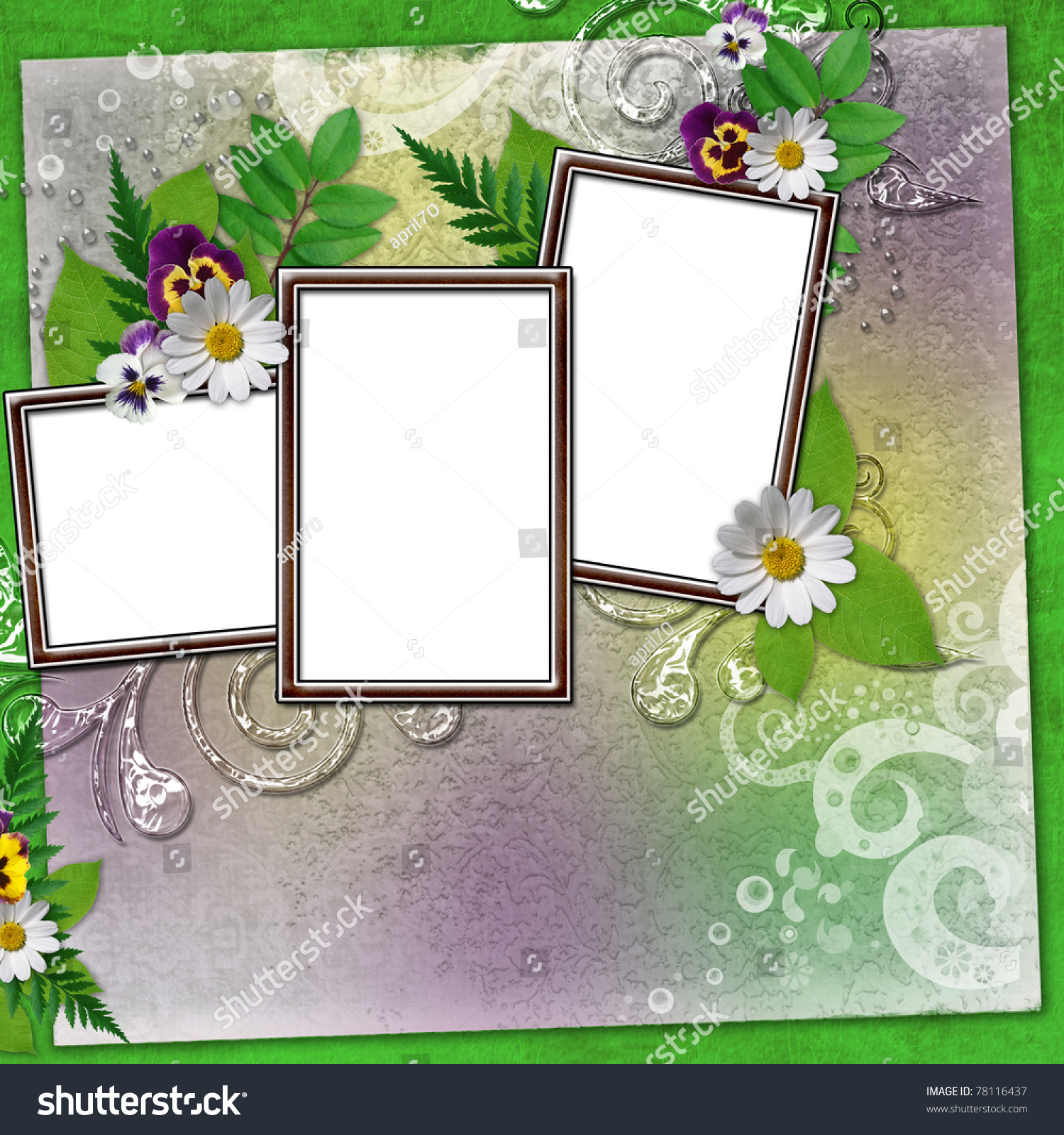 three frame for photos with colorful flowers and leaves