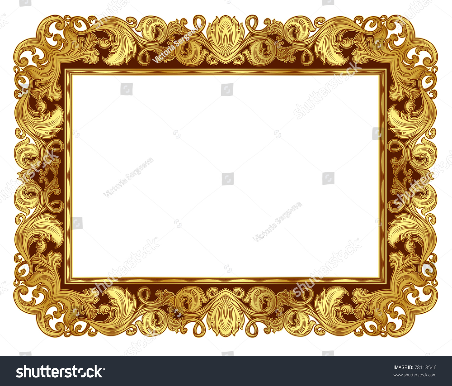 gold ornate frame in the renaissance style in isolation