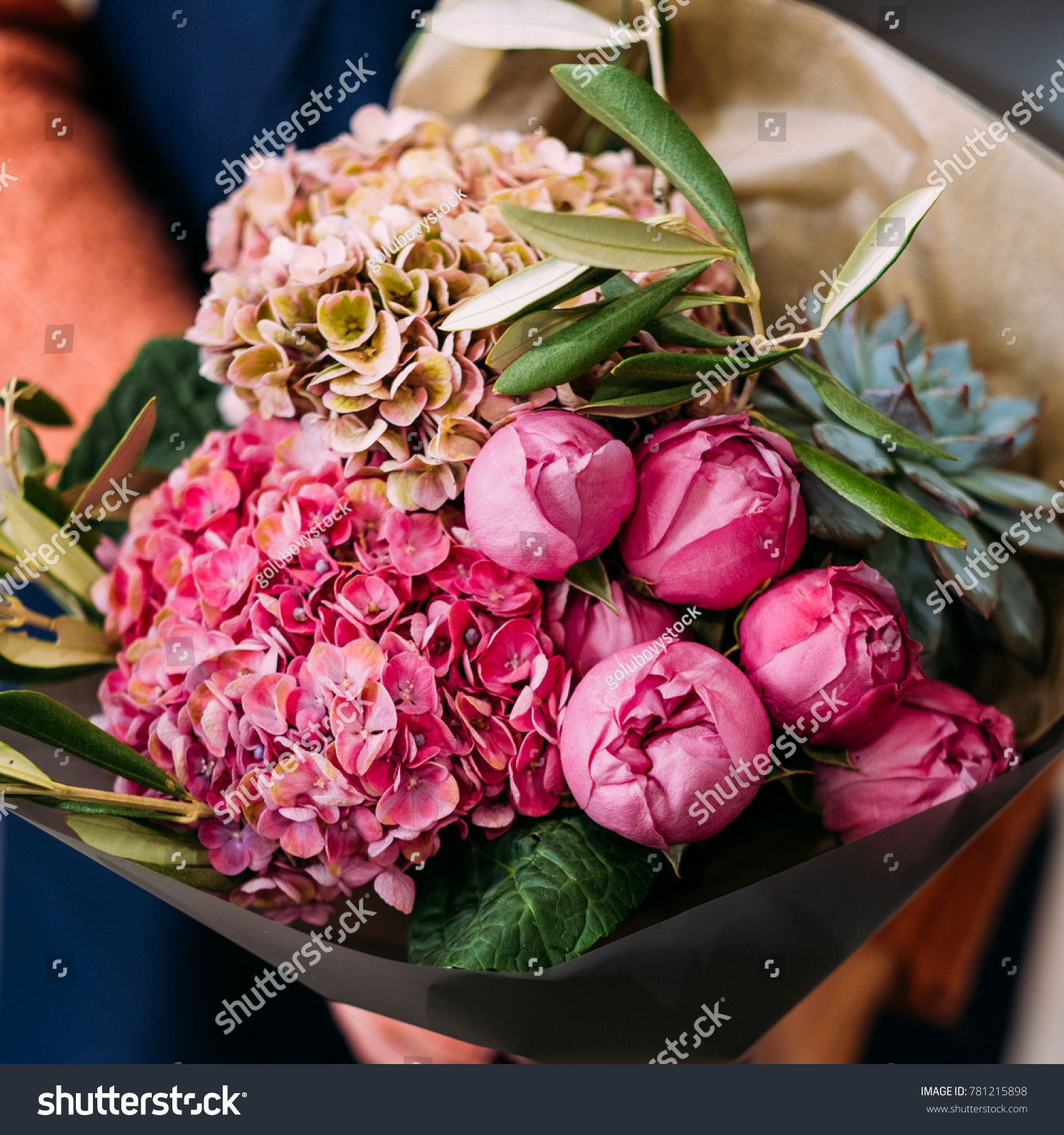 Luxurious Bouquet Various Flowers Anniversary Gift Stock Photo (Edit ...