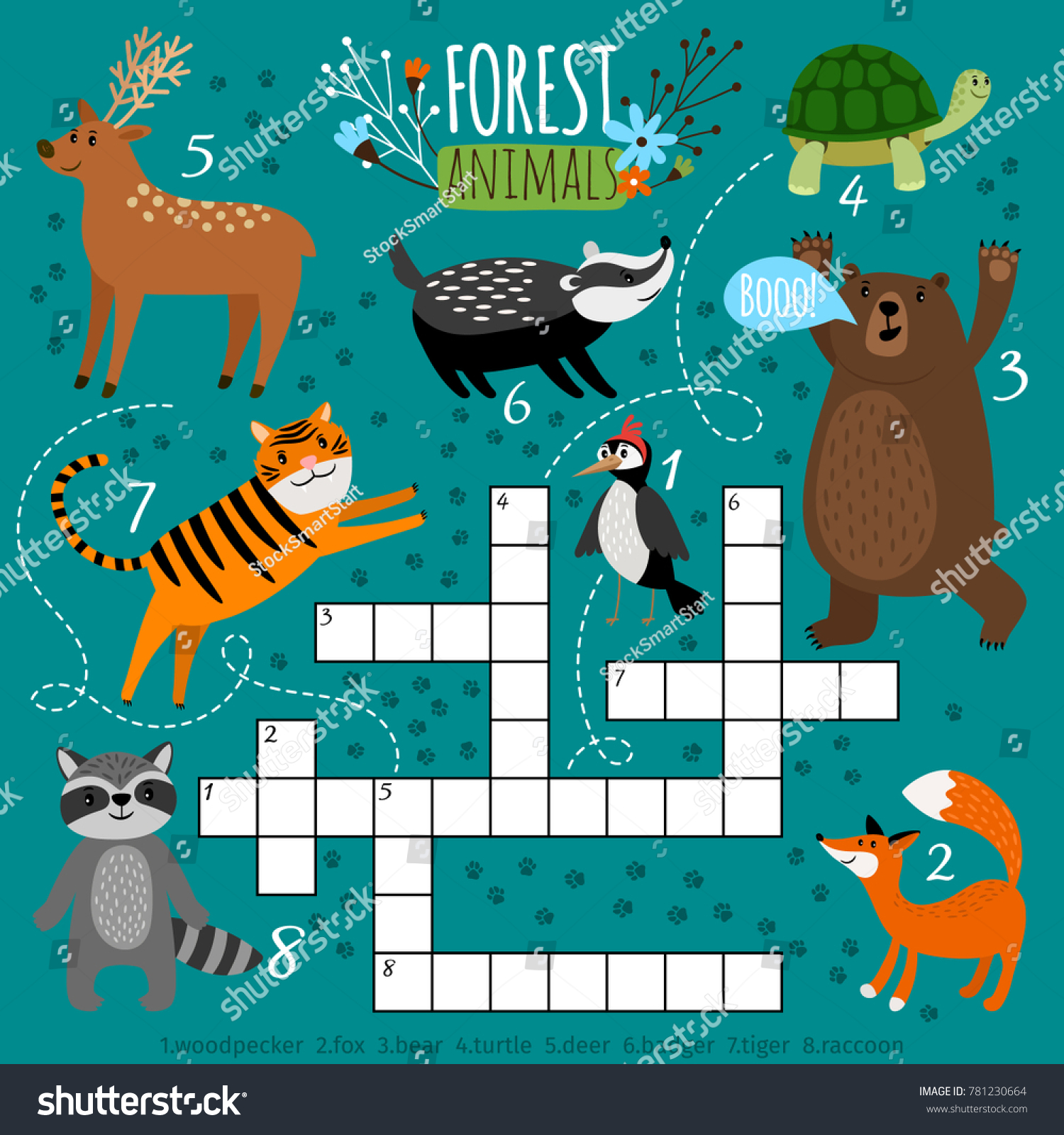 Printable Animal Crossword Preschool Puzzle Quiz Stock Vector ...
