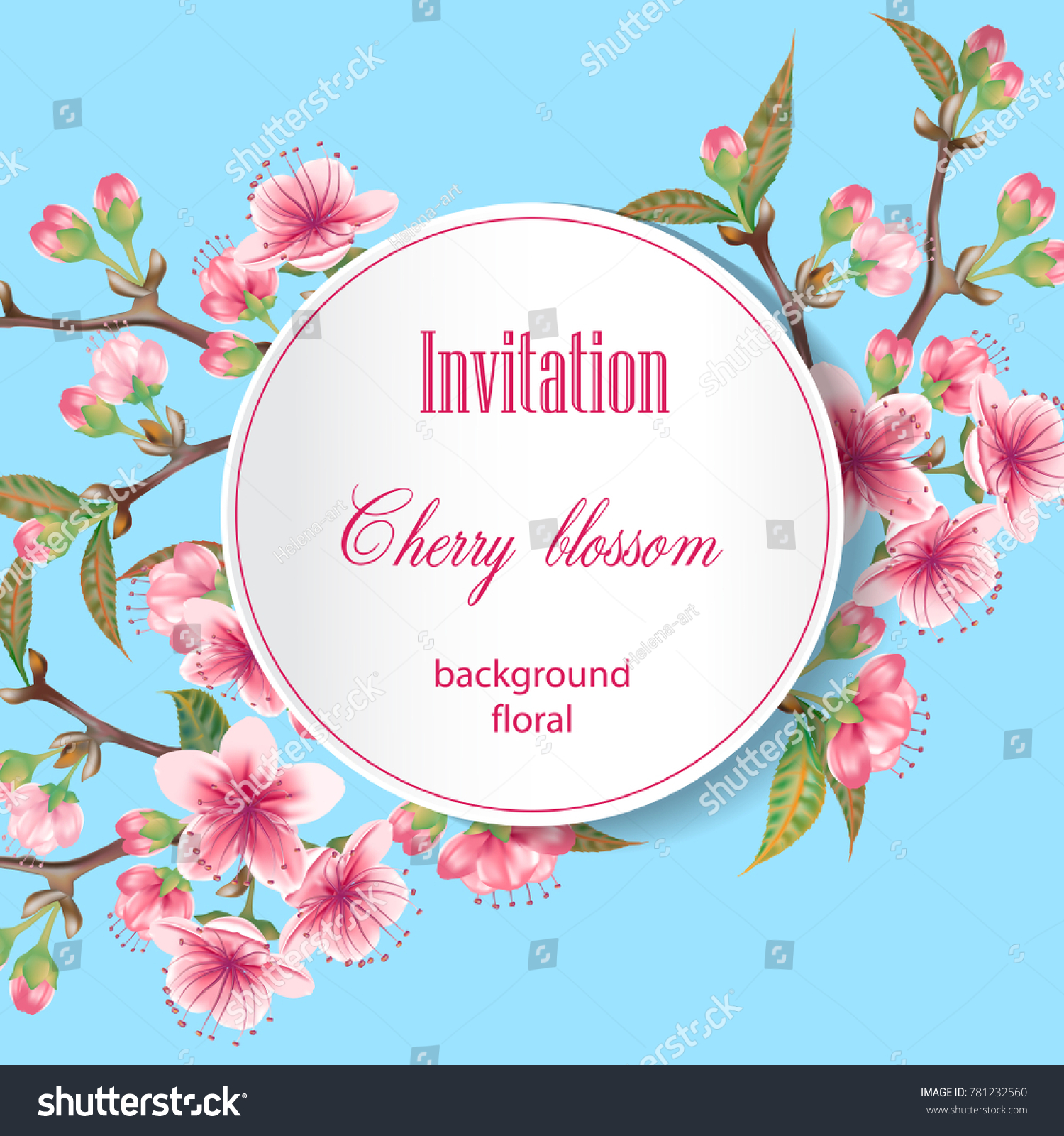 Cherry Blossoms Illustration Greeting Card Wedding Stock Vector