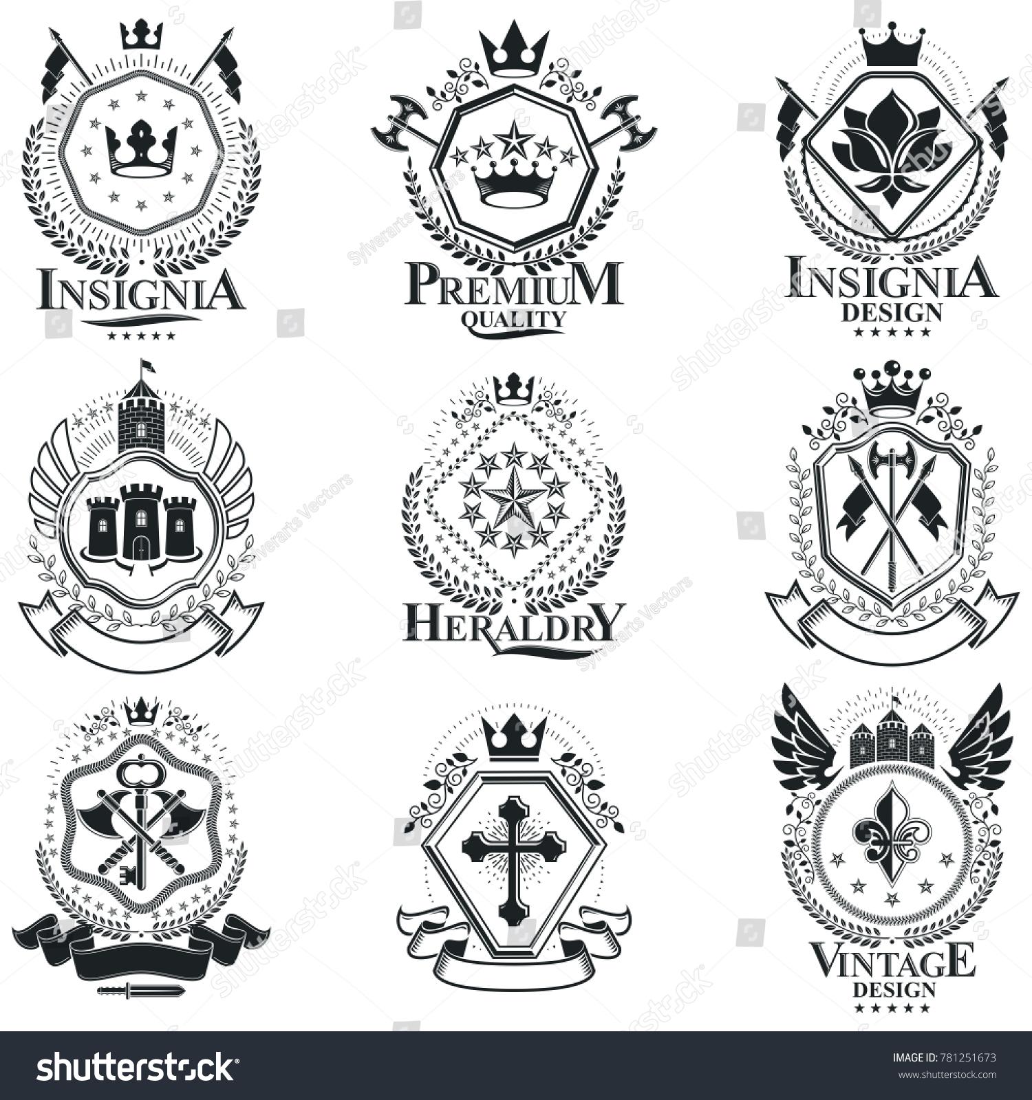 Heraldic coat arms vintage emblems classy stock illustration heraldic coat of arms vintage emblems classy high quality symbolic illustrations collection set biocorpaavc Images