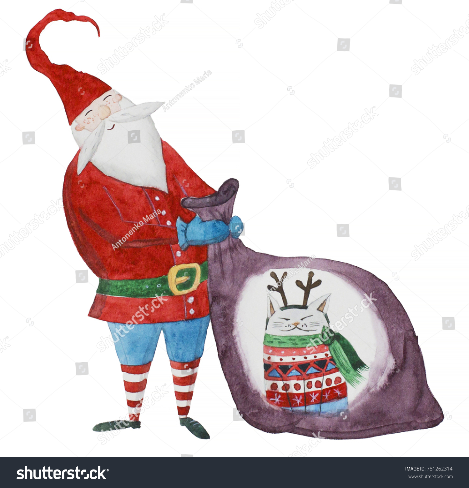 Watercolor Christmas Illustration Gnome Cat Bag Stock Illustration ...