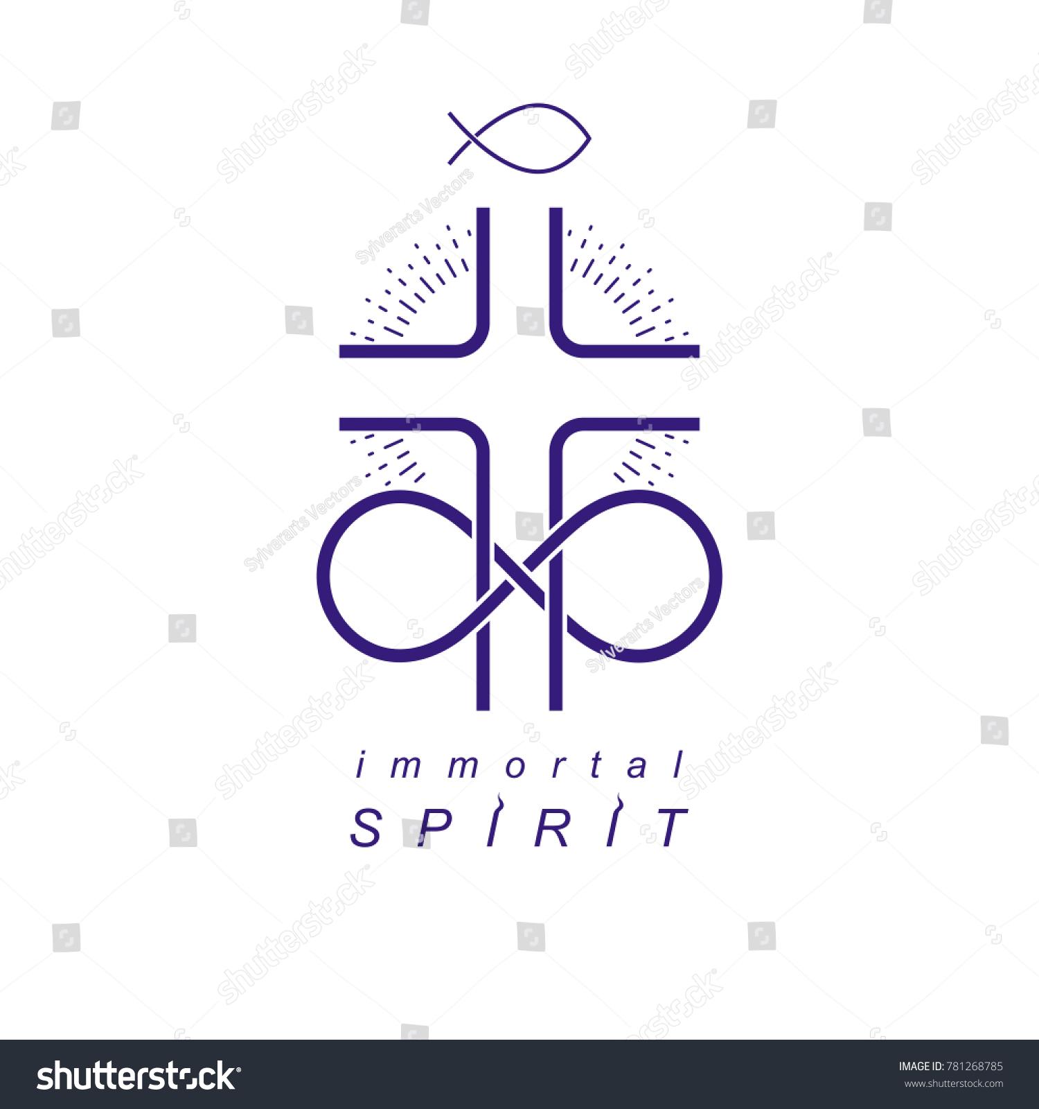 Immortal god conceptual symbol combined infinity stock immortal god conceptual symbol combined with infinity loop sign and christian cross creative logo biocorpaavc