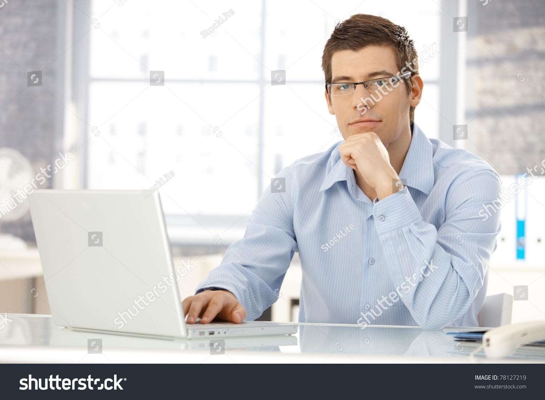 portrait office worker man sitting office stock photo