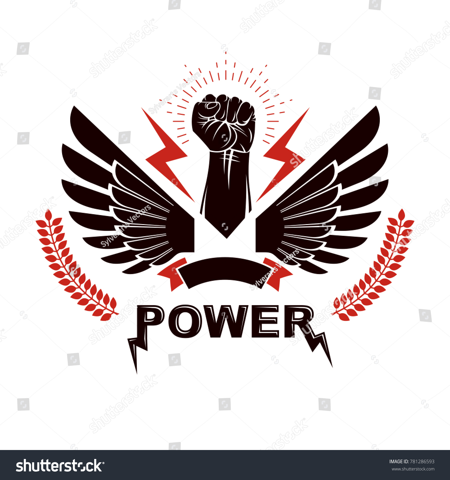 Raised strong clenched fist composed lightning stock illustration raised strong clenched fist composed with lightning winged logo boxing club abstract emblem can biocorpaavc