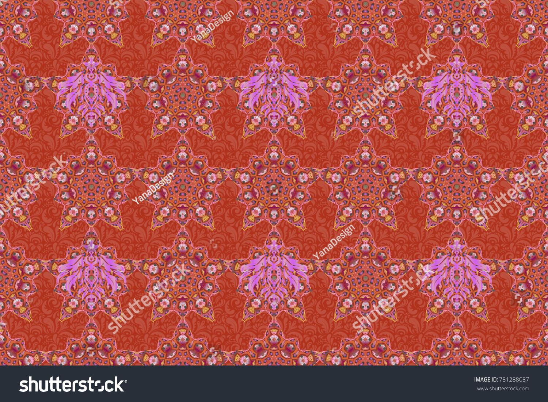 Orange Pink Gray Seamless Background Flower Stock Illustration ...