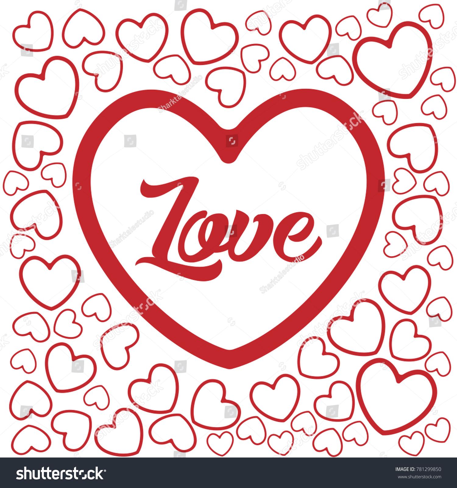 Love Heart Shape Illustration Template Stock Vector Royalty Free