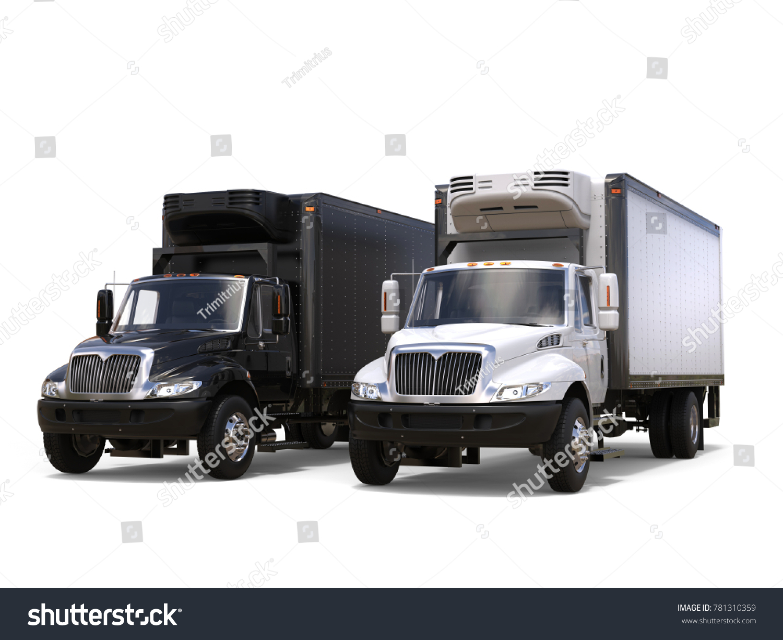Side By Side Kühlschrank Transportieren : Black white refrigerator trucks side by stockillustration 781310359