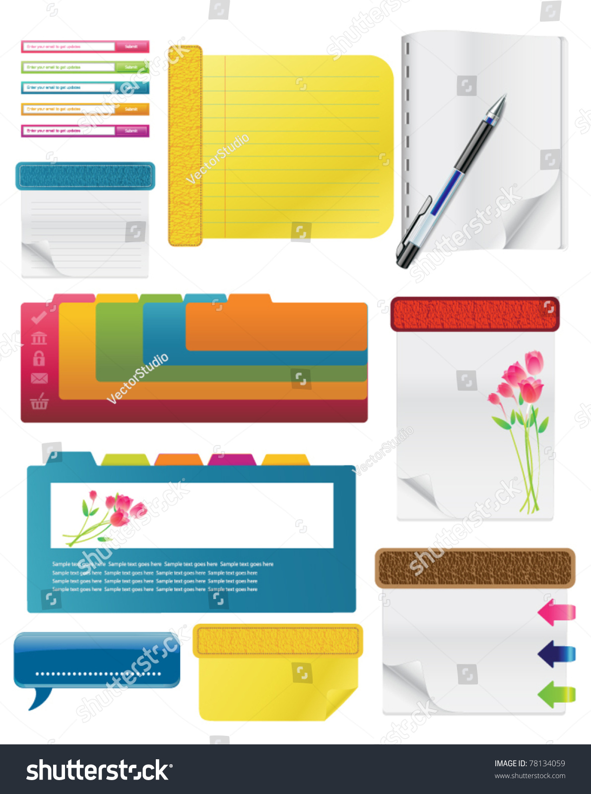 Set Spiral Notebooks Colored Tabs Lined Stock Vector Royalty Free