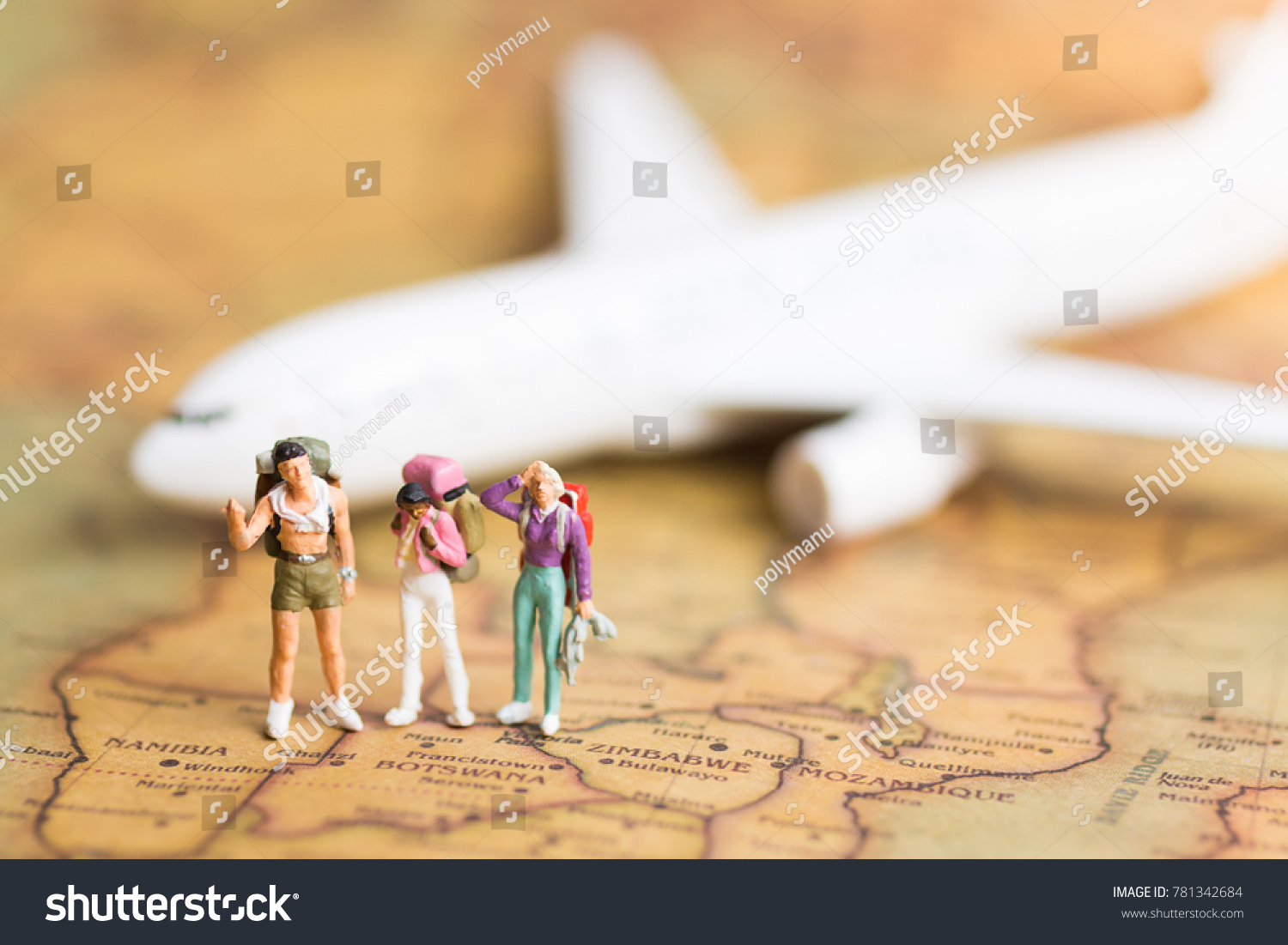 Miniature people travelers backpack standing on stock photo image miniature people travelers with backpack standing on world map travel by plane used as a gumiabroncs Images
