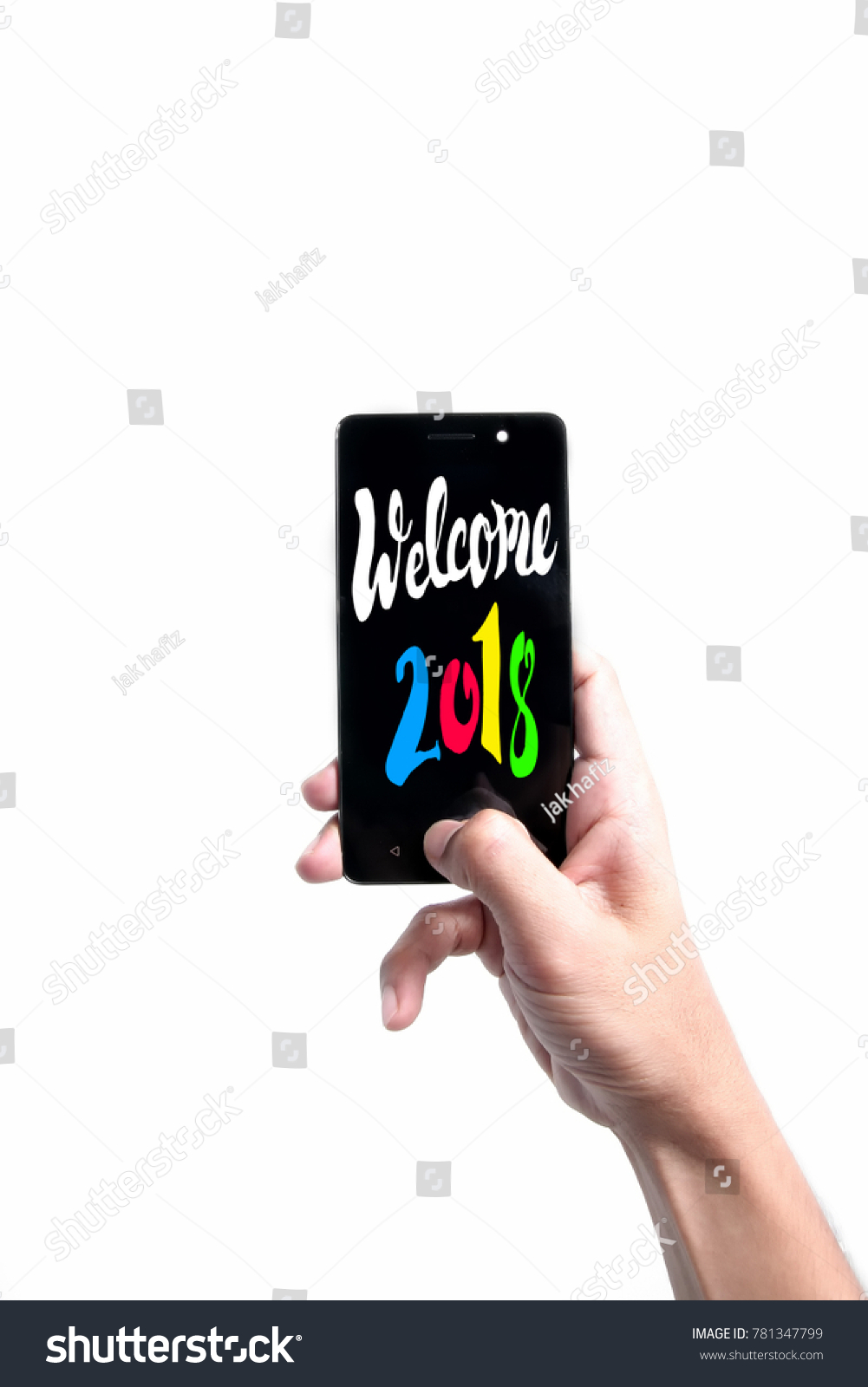 Welcome 2018 Quote With Man Holding Smartphone Background.