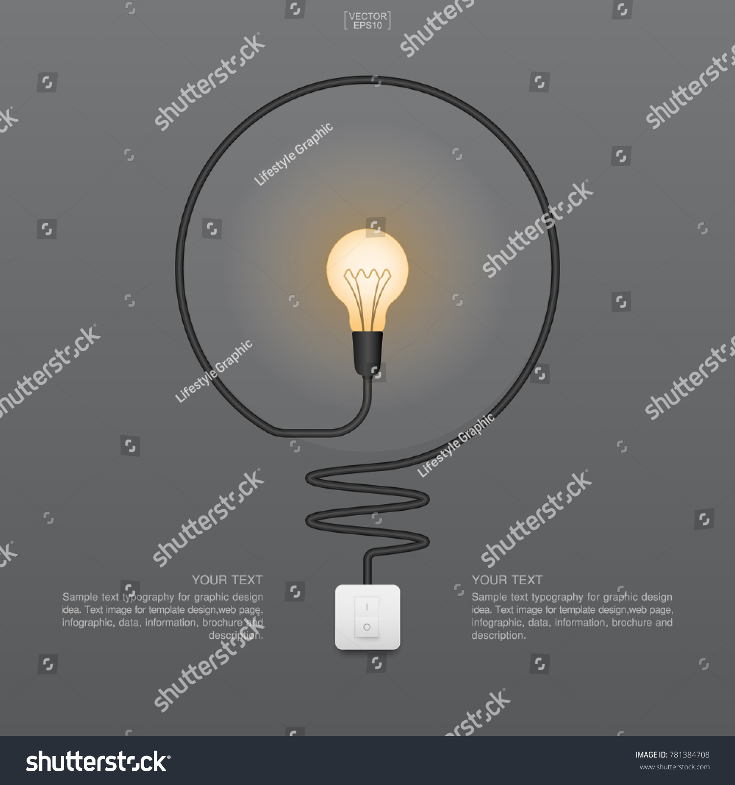 Abstract Light Bulb Switch On Stock Vector Royalty Free Diagram Of Incandescent And Gray Background Lamp Illustration