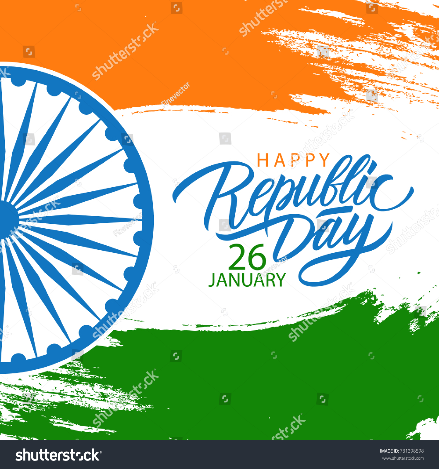 India happy republic day celebrate card stock vector royalty free india happy republic day celebrate card with hand lettering holiday greetings and brush stroke in colors m4hsunfo