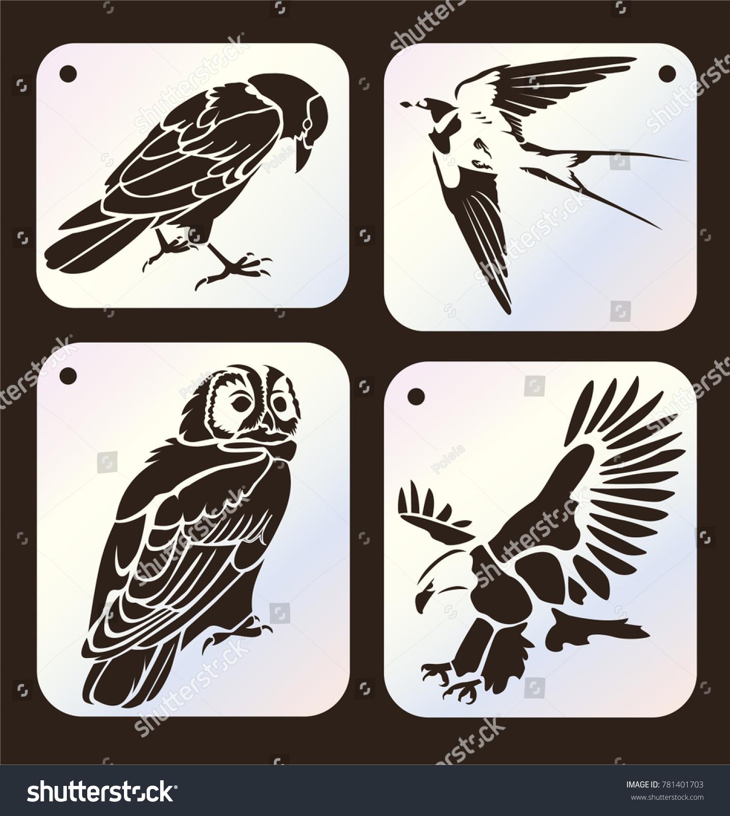 Set Stencils Crow Bird Swallow Owl Stock Vector Royalty Free