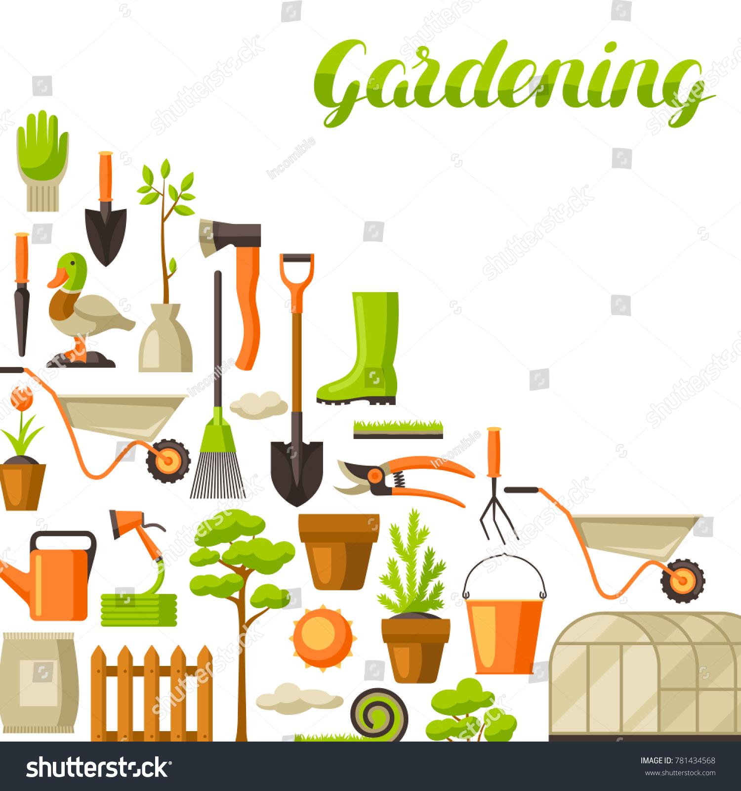 Les Outils De Jardinage Avec Photos image vectorielle de stock de arrière-plan avec outils et